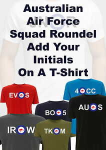 Australia Airforce Personalised Initials roundel T Shirt WW2 CNC Boomerang army