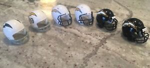 Riddell Pocket Pro football helmets San Diego Chargers lot of 6 different