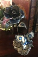 "Vintage Metal Art Rose And Butterfly On Marble Granite Base 7.5""H"
