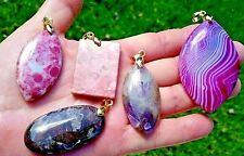 SEMI PRECIOUS STONE PENDANT LOT - JEWELRY FINDINGS AND CRAFTING