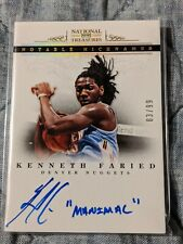2012-13 National Treasures Nicknames Kenneth Faried Manimal AUTO 03/99 Nuggets