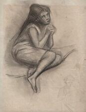 YOUNG GIRL PORTRAIT Antique Pencil Drawing c1930 IMPRESSIONIST