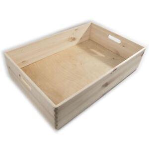 XLarge Wooden Shallow Underbed Toy Storage Box / 60x40x13 cm / Unpainted Pine
