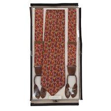 NEU Vintage Hosenträger Krawatte REINE SEIDE Braces Suspenders Tie Silk Rot Red