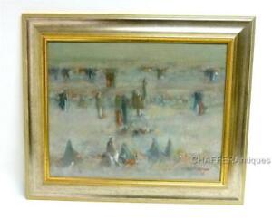 "Middle East Art JABBAR SALMAN ""Nomad Camp"" Impasto Oil on Canvas Painting"