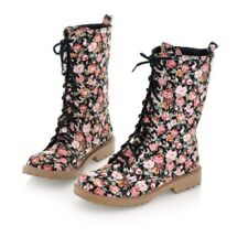 Ladies Boho Floral Lace Up Canvas Boots Girls Spring Casual Flat Comfort Shoes