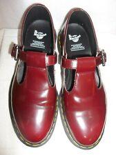 Dr Doc Martens Airwear Polley T Strap Mary Jane Burgundy Patent vegan Us 11 rare