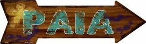 "Paia Hawaiian Themed Novelty Metal Arrow Sign 17"" x 5"" Wall Decor - DS"