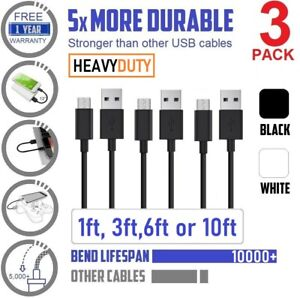 3-Pack 1ft 12in Short Fast charging  & Data Sync, PVC USB Cable For smart phones