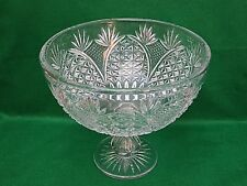 "Large Stuart Crystal ""Church Window"" Cut Footed Punch Pedestal Bowl Centerpiece"