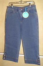 NWT Fresh Produce Denim Cropped Stretch Jeans Button Cuffs Size 8
