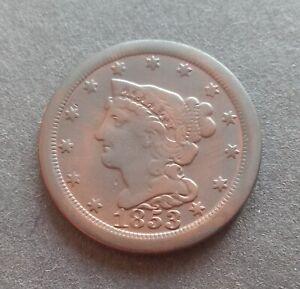 1853 Braided Hair Half Cent USA