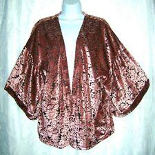 Bobeau Pink Velvet Velour Damask Print Women's Wide Sleeve Cardigan Medium