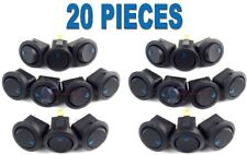 20 Pack 12 Volt Round Rocker Switch with Blue LED Car Automotive On Off car auto