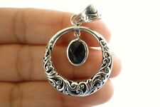 Ornate Circle Black Onyx Solitaire Dangle Drop 925 Sterling Silver Pendant