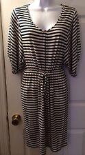 New CALVIN KLEIN Navy Blue Ivory Striped Dress Sz P Petite Nautical Jersey Knit