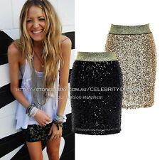 sk21N3 Celebrity Style Sparkle Gold Sequin Metallic Bodycon Mini Party Skirt