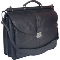 "BNWT VINTAGE BLACK ITALIAN REAL LEATHER BRIEFCASE, 17"" LAPTOP BAG NR"