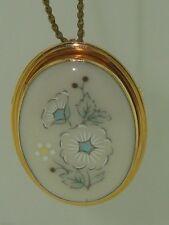 Vintage Lenox 14K Gold Filled Porcelain Windsong Pendant Necklace!