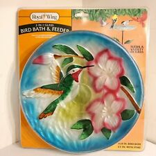 New listing Royal Wing Art Glass 2-in-1 Bird Bath or Feeder With Stake Hummingbird