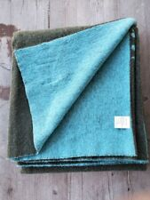 Nido Notte Italy Reversible Throw Green & Turquoise Peacock Motif - New