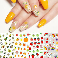 3D Nail Stickers Cute Fruits Patterns Summer Pattern Nail Art Decals Decoration