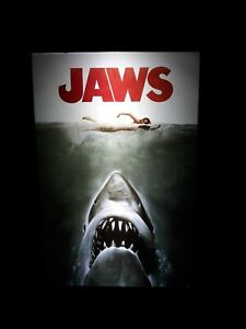 JAWS Mini Movie Poster LED Light Box Display Sign Man Cave Movie Room Game Room