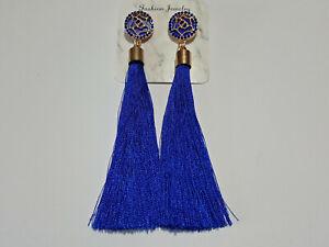 Vintage Boho Blue Long Tassel Drop Earrings Cotton Silk Fabric Fashion Jewellery