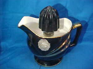 1930s COORS CHINA Art Deco ADE O MATIC Juice REAMER in BLACK + GOLD