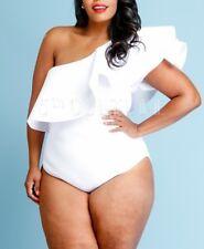 Plus One Shoulder Ruffle Bodycon Bodysuit Dress Top Romper Black White