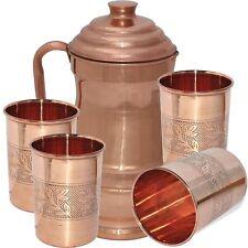 100% Copper Designer Ayurveda Healthy Drinking Water 1 Jug & 4 Glass Set Tumbler
