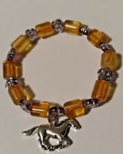 Fashion Bracelet for Little Girls Glass Beads/Silver Beads and Horse Charm NEW