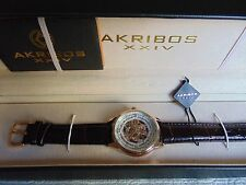 Akribos XXIV Saturnos Skeleton 40mm Automatic 18K Rose Gold Fused SS Watch L@@K