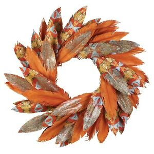 """Pacific Gold Watercolor Paper Feather Wreath 24"""" Dept 56 Gold Glitter Accents"""