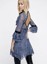 NEW Free People blue Lace black Satin Trim Bell Sleeves Fit Flare Mini Dress XS