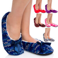 Womens Patterned Warm Winter Slippers Anti Slipping Fur Lined Fluffy Shoes YW17