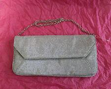 "MONSOON ACCESSORIZE Silver Glitter Envelope Party Clutch Bag W/10.5""  L/5"""