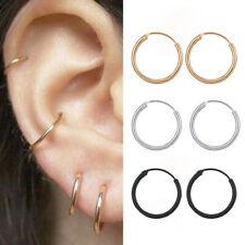Women Girl Silver Gold Stainless Steel Small Huggie Hoop Earrings 10MM-15MM 2Pcs