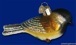 BLACK CAP CHICKADEE OLD WORLD CHRISTMAS GLASS BIRD AVIARY ORNAMENT NWT 16039