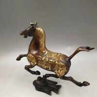 Chinese Antique Old copper hand-made gold-plated horse Swallow Home decoration