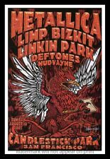 "Framed Vintage Style Rock n Roll Poster ""METALLICA, LIMP BIZKIT et al.""; 12x18"