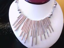 """Beautiful Hand Made Sterling Silver Mexican Modernist Sun Ray 18.5"""" Choker."""