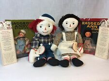 Raggedy Ann Andy Volland Applause Antique Reproduction Dolls w Books COA 1998