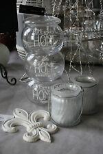 3er Set Glas Behälter Bonbon Home Teelicht Halter Deko Objekt Fleur de Lys Eisen