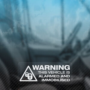 3x WARNING VEHICLE ALARMED AND IMMOBILISED Security Car Van Taxi Window Stickers