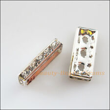5Pcs Silver Plated Rhinestone 3 Hole Rectangle Spacer Bars Connectors 8x19mm