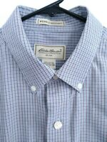 Eddie Bauer Wrinkle Resistant Mens Size Medium Blue Brown Plaid Button Up Shirt