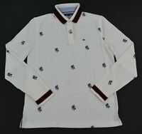 Men's Tommy Hilfiger Long-Sleeve  Lion Print Cotton Polo Shirt