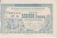 ALGÉRIE : BILLET DE LOTERIE NATIONALE ALGÉRIENNE (1881).
