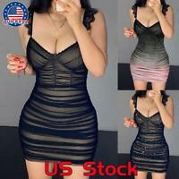 Women's Mesh Sheer Pleated Bodycon Mini Dress Ladies Sexy Clubwear Party Dresses